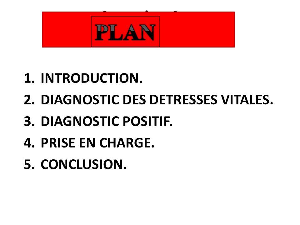 introduction 1.INTRODUCTION. 2.DIAGNOSTIC DES DETRESSES VITALES. 3.DIAGNOSTIC POSITIF. 4.PRISE EN CHARGE. 5.CONCLUSION.