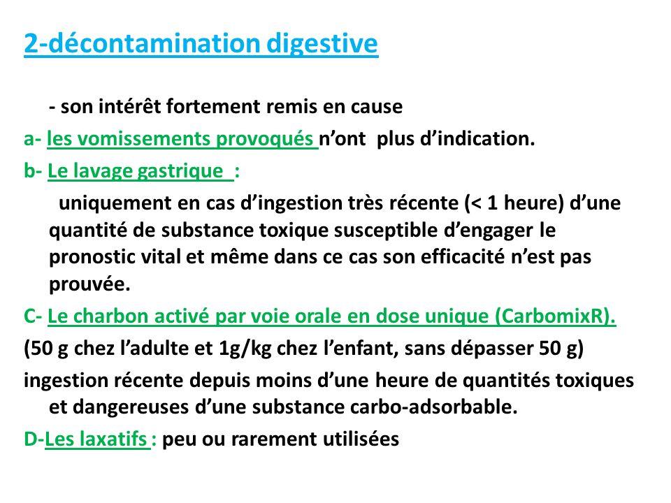 2-décontamination digestive - son intérêt fortement remis en cause a- les vomissements provoqués nont plus dindication. b- Le lavage gastrique : uniqu