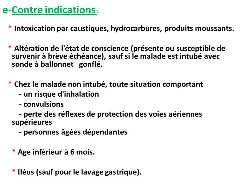 e-Contre indications : * Intoxication par caustiques, hydrocarbures, produits moussants. * Altération de l'état de conscience (présente ou susceptible