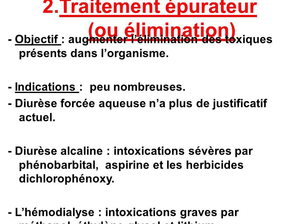 2.Traitement épurateur (ou élimination) - Objectif : augmenter lélimination des toxiques présents dans lorganisme. - Indications : peu nombreuses. - D