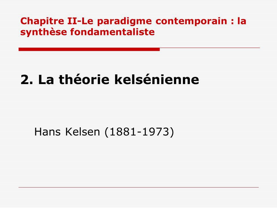 Chapitre II-Le paradigme contemporain : la synthèse fondamentaliste 2. La théorie kelsénienne Hans Kelsen (1881-1973)