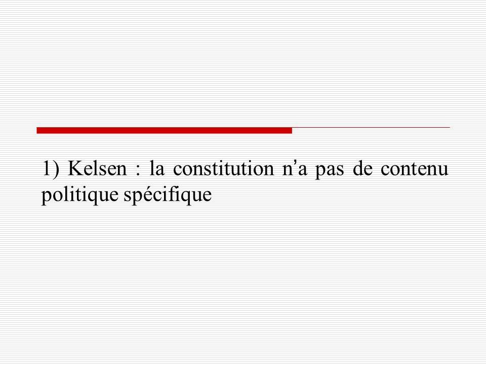 1) Kelsen : la constitution na pas de contenu politique spécifique