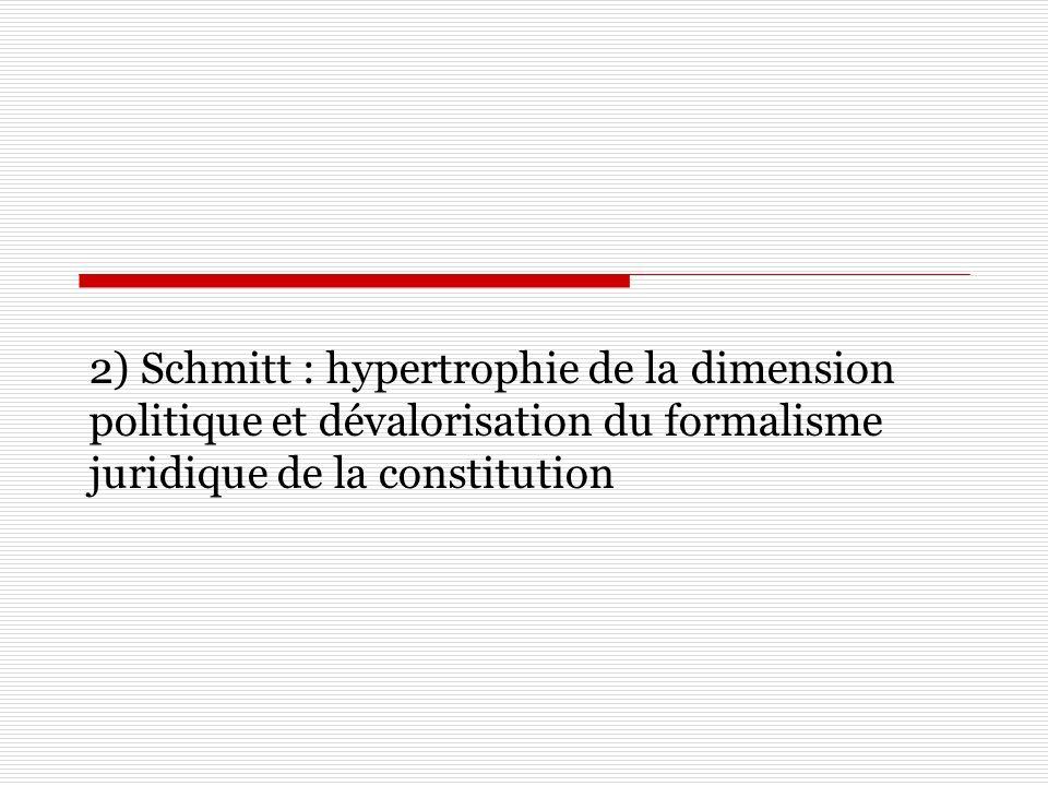2) Schmitt : hypertrophie de la dimension politique et dévalorisation du formalisme juridique de la constitution