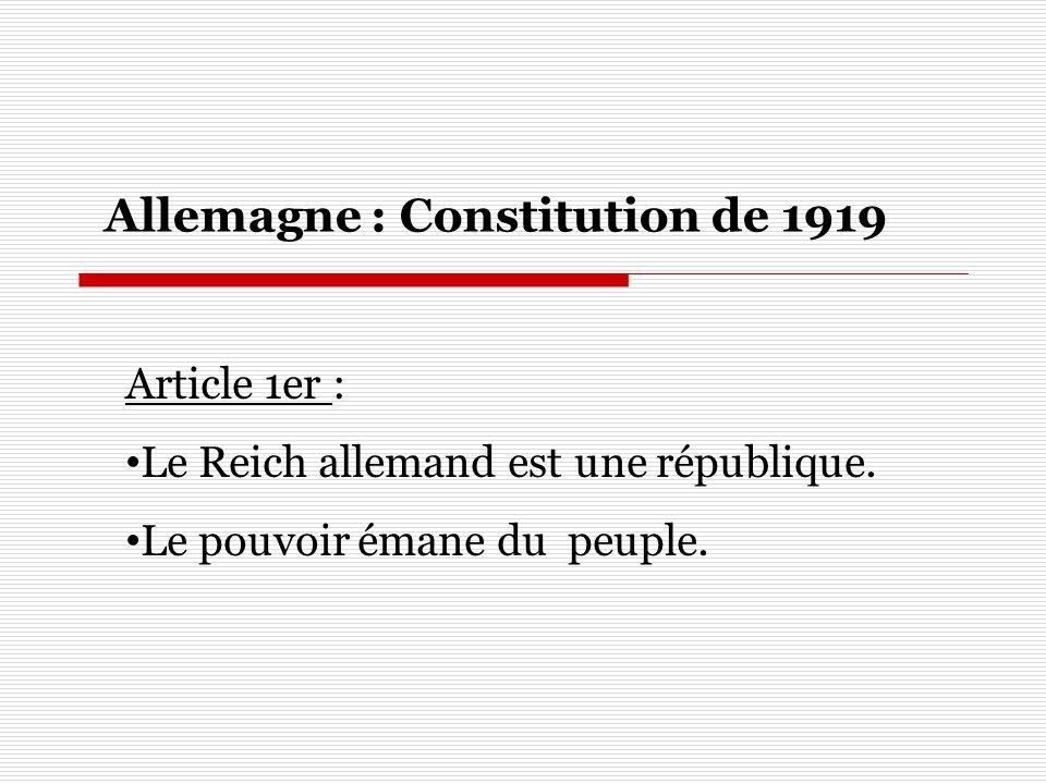 Article 1er : Le Reich allemand est une république. Le pouvoir émane du peuple. Allemagne : Constitution de 1919