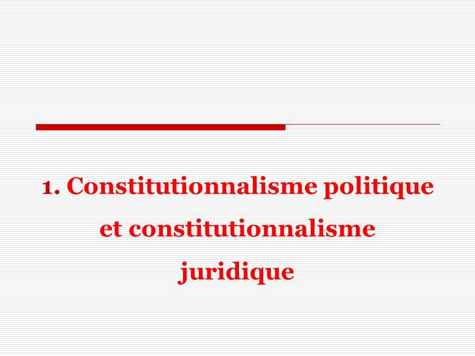 1. Constitutionnalisme politique et constitutionnalisme juridique