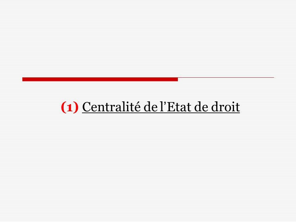 (1) Centralité de lEtat de droit