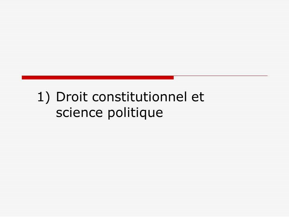 1)Droit constitutionnel et science politique