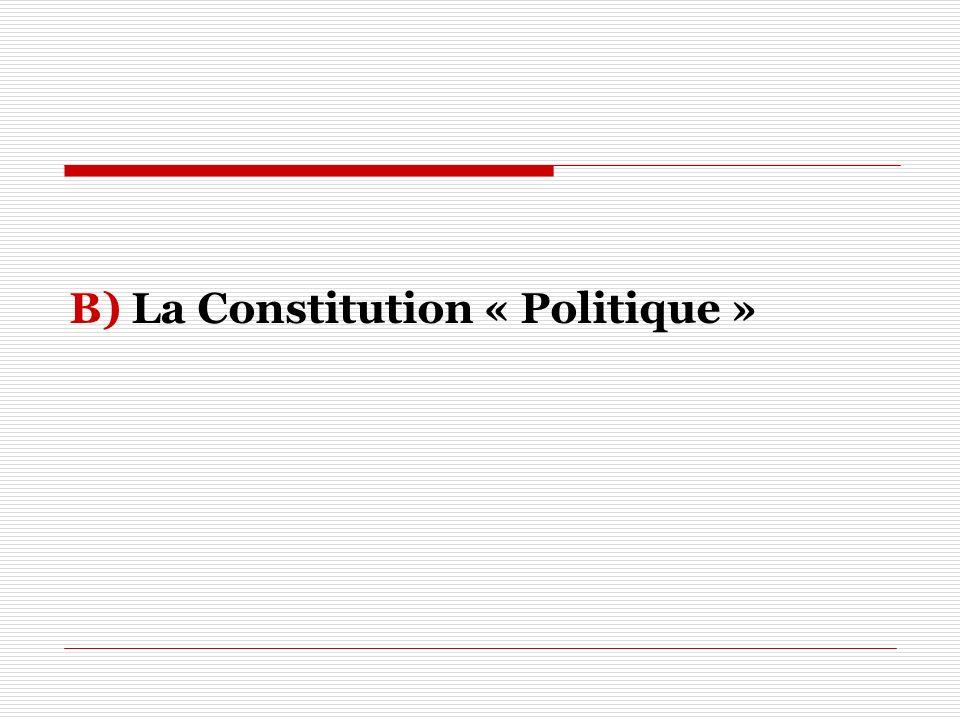 B) La Constitution « Politique »