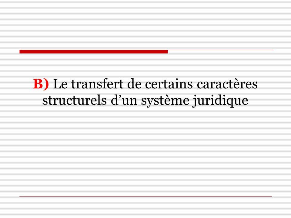 B) Le transfert de certains caractères structurels dun système juridique