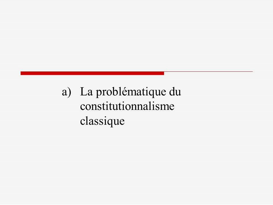a)La problématique du constitutionnalisme classique