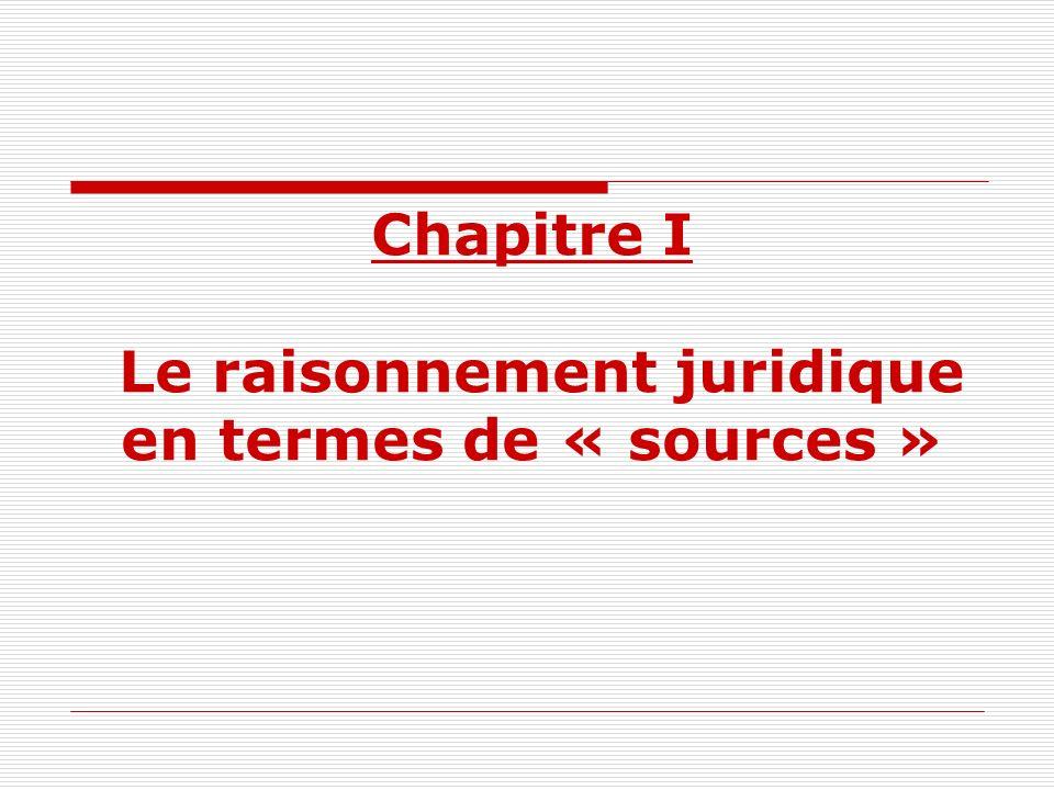 Chapitre I Le raisonnement juridique en termes de « sources »