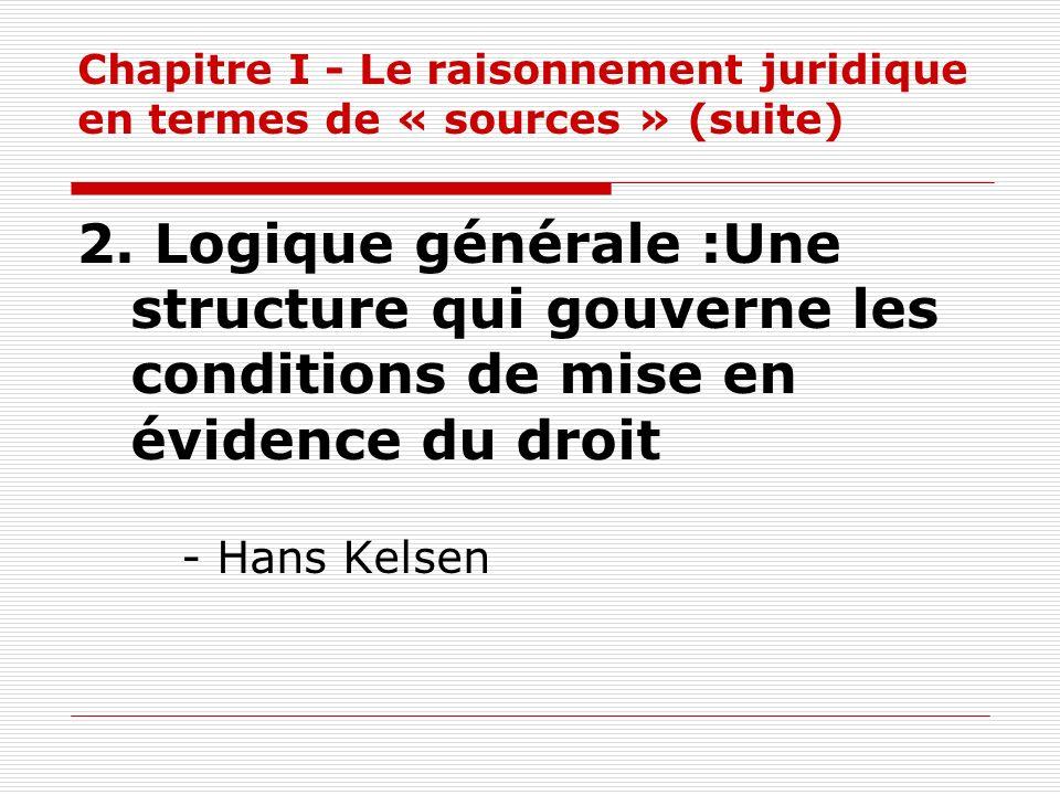 Chapitre I - Le raisonnement juridique en termes de « sources » (suite) 2. Logique générale :Une structure qui gouverne les conditions de mise en évid