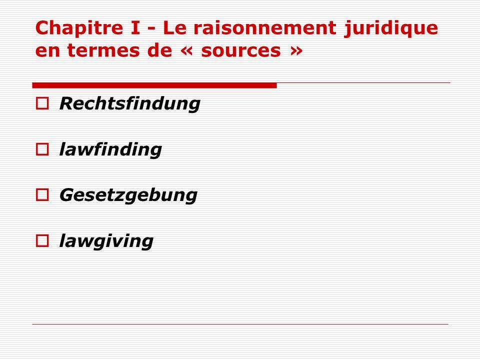 Chapitre I - Le raisonnement juridique en termes de « sources » Rechtsfindung lawfinding Gesetzgebung lawgiving
