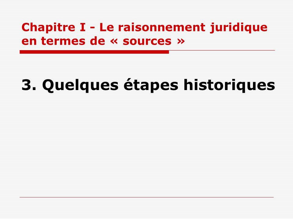 Chapitre I - Le raisonnement juridique en termes de « sources » 3. Quelques étapes historiques