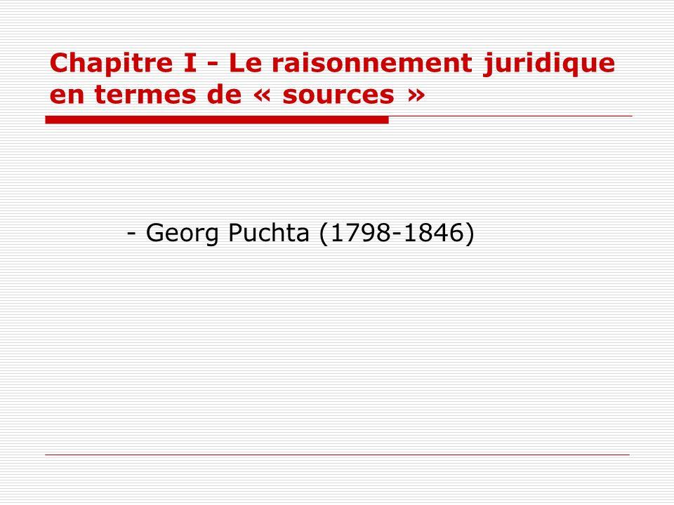 Chapitre I - Le raisonnement juridique en termes de « sources » - Georg Puchta (1798-1846)