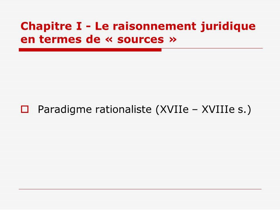 Chapitre I - Le raisonnement juridique en termes de « sources » Paradigme rationaliste (XVIIe – XVIIIe s.)