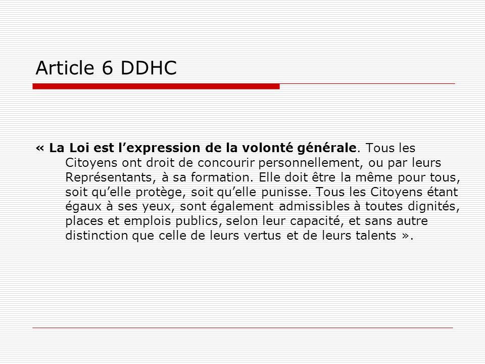 Article 6 DDHC « La Loi est lexpression de la volonté générale. Tous les Citoyens ont droit de concourir personnellement, ou par leurs Représentants,