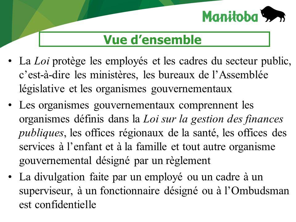 3 Vue densemble La Loi protège les employés et les cadres du secteur public, cest-à-dire les ministères, les bureaux de lAssemblée législative et les