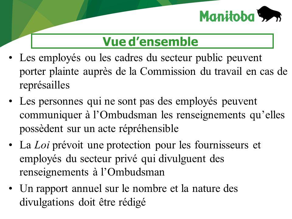 4 Vue densemble Les employés ou les cadres du secteur public peuvent porter plainte auprès de la Commission du travail en cas de représailles Les pers