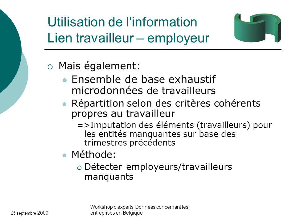 25 septembre 2009 Workshop d'experts Données concernant les entreprises en Belgique Utilisation de l'information Lien travailleur – employeur Mais éga