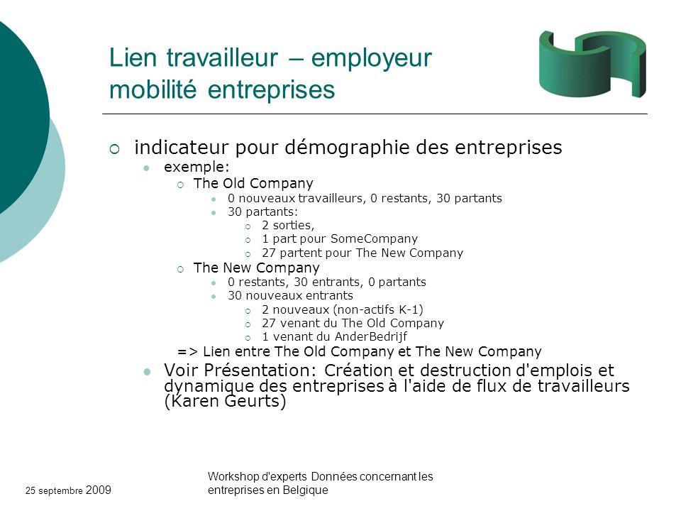 25 septembre 2009 Workshop d'experts Données concernant les entreprises en Belgique Lien travailleur – employeur mobilité entreprises indicateur pour