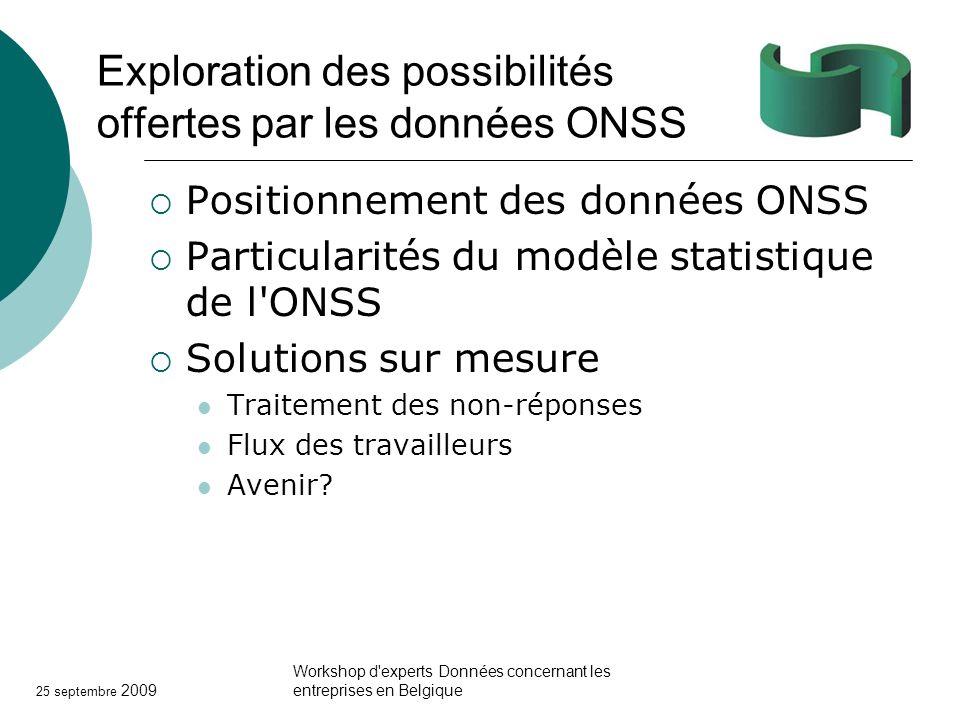 25 septembre 2009 Workshop d'experts Données concernant les entreprises en Belgique Exploration des possibilités offertes par les données ONSS Positio