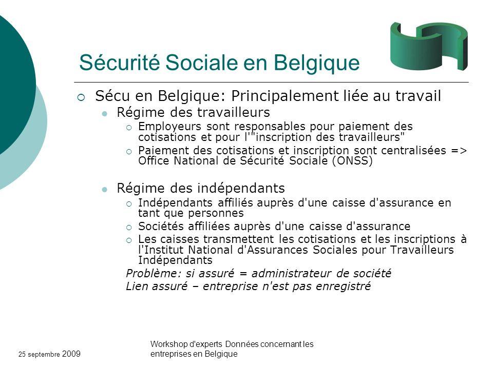 25 septembre 2009 Workshop d'experts Données concernant les entreprises en Belgique Sécurité Sociale en Belgique Sécu en Belgique: Principalement liée