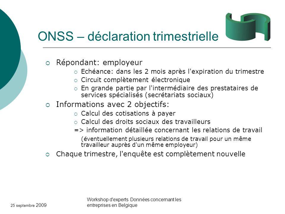 25 septembre 2009 Workshop d'experts Données concernant les entreprises en Belgique ONSS – déclaration trimestrielle Répondant: employeur Echéance: da