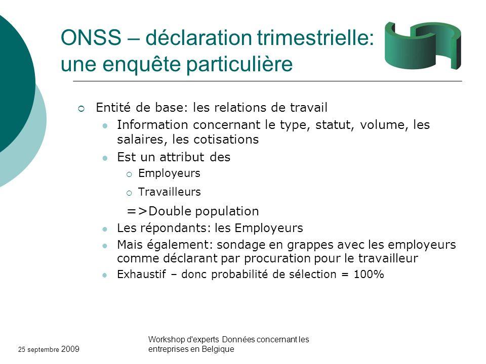 25 septembre 2009 Workshop d'experts Données concernant les entreprises en Belgique ONSS – déclaration trimestrielle: une enquête particulière Entité
