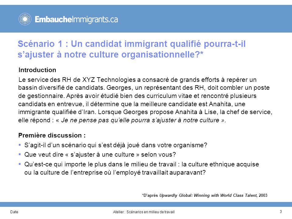 DateAtelier : Scénarios en milieu de travail 3 Scénario 1 : Un candidat immigrant qualifié pourra-t-il sajuster à notre culture organisationnelle?* In
