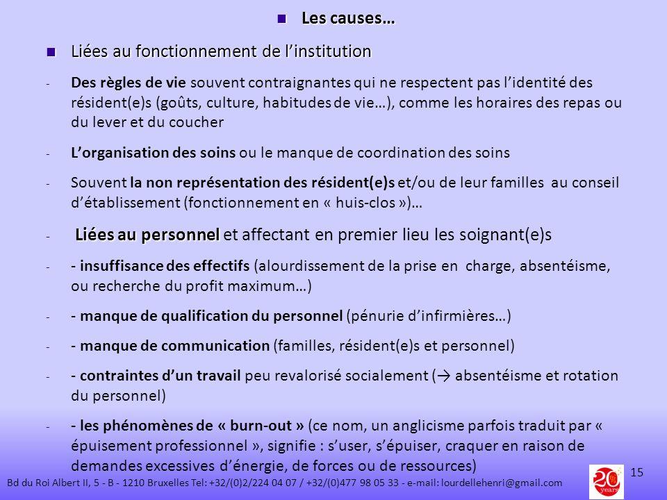 Les causes… Les causes… Liées au fonctionnement de linstitution Liées au fonctionnement de linstitution - - Des règles de vie souvent contraignantes q