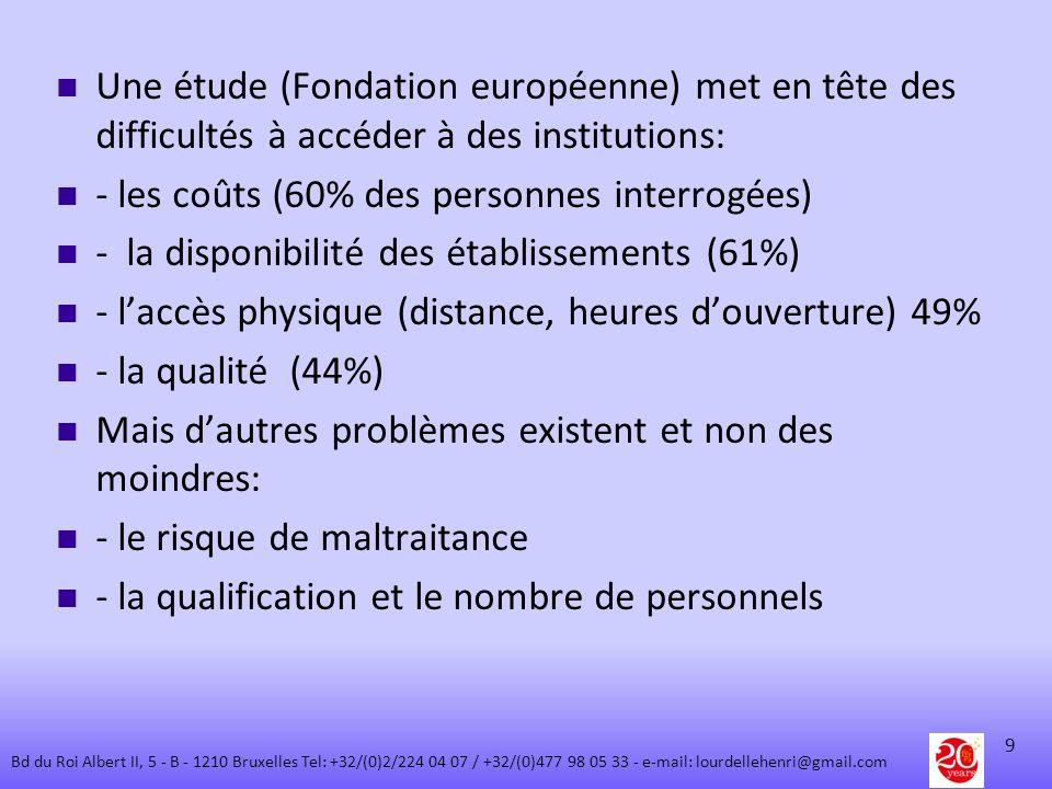 Une étude (Fondation européenne) met en tête des difficultés à accéder à des institutions: - les coûts (60% des personnes interrogées) - la disponibil