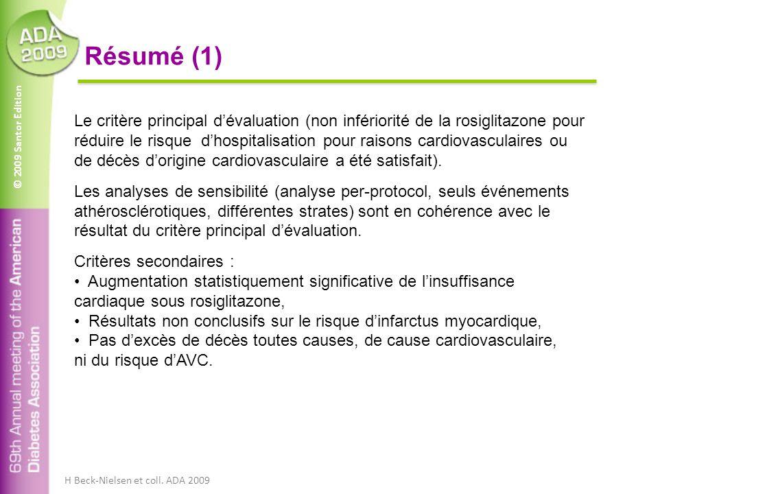 © 2009 Santor Edition Résumé (1) Le critère principal dévaluation (non infériorité de la rosiglitazone pour réduire le risque dhospitalisation pour raisons cardiovasculaires ou de décès dorigine cardiovasculaire a été satisfait).
