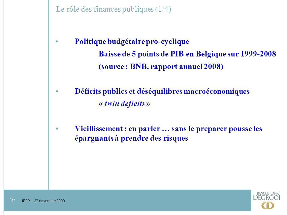 10 IBFP – 27 novembre 2009 Le rôle des finances publiques (1/4) Politique budgétaire pro-cyclique Baisse de 5 points de PIB en Belgique sur 1999-2008 (source : BNB, rapport annuel 2008) Déficits publics et déséquilibres macroéconomiques « twin deficits » Vieillissement : en parler … sans le préparer pousse les épargnants à prendre des risques