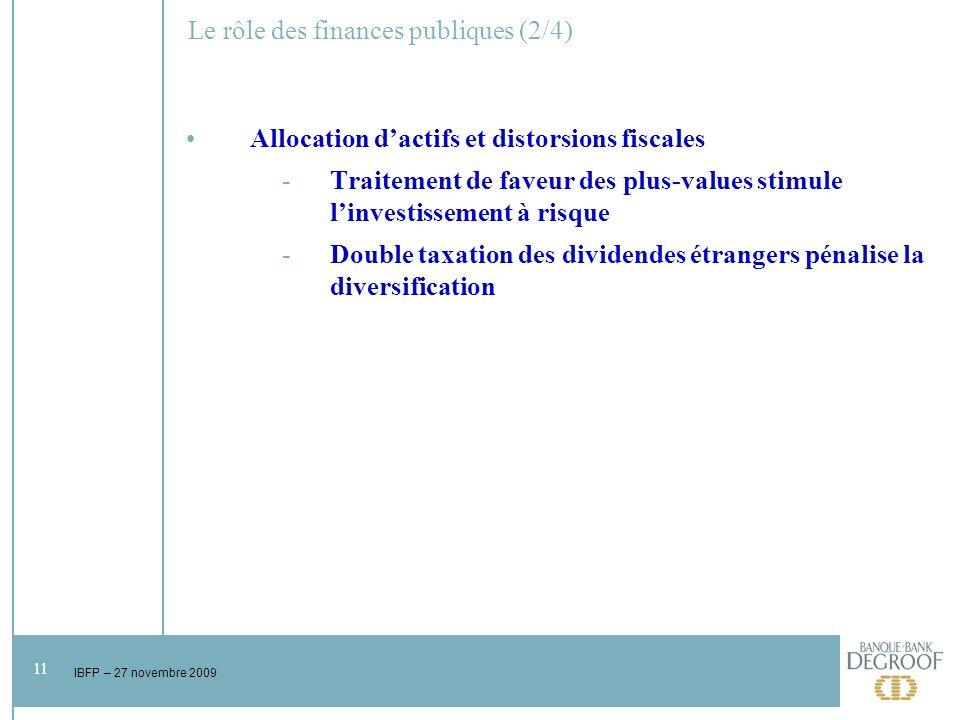 11 IBFP – 27 novembre 2009 Le rôle des finances publiques (2/4) Allocation dactifs et distorsions fiscales -Traitement de faveur des plus-values stimule linvestissement à risque -Double taxation des dividendes étrangers pénalise la diversification