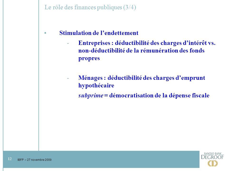 12 IBFP – 27 novembre 2009 Le rôle des finances publiques (3/4) Stimulation de lendettement -Entreprises : déductibilité des charges dintérêt vs.