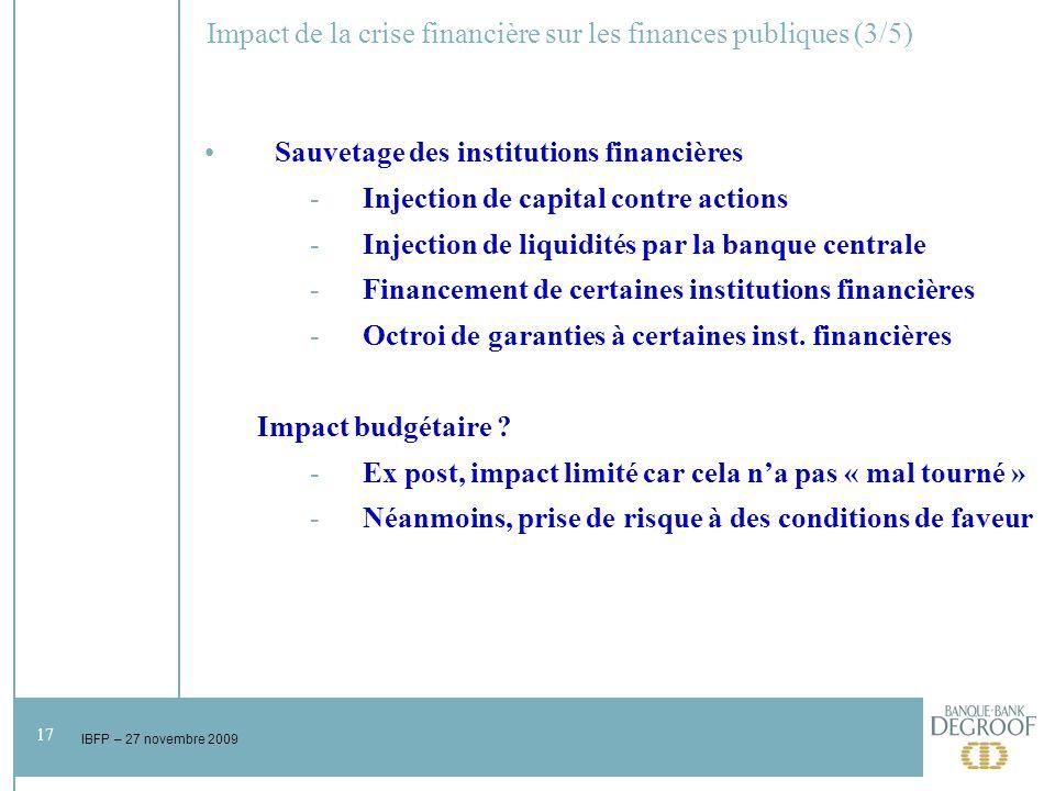 17 IBFP – 27 novembre 2009 Impact de la crise financière sur les finances publiques (3/5) Sauvetage des institutions financières -Injection de capital contre actions -Injection de liquidités par la banque centrale -Financement de certaines institutions financières -Octroi de garanties à certaines inst.