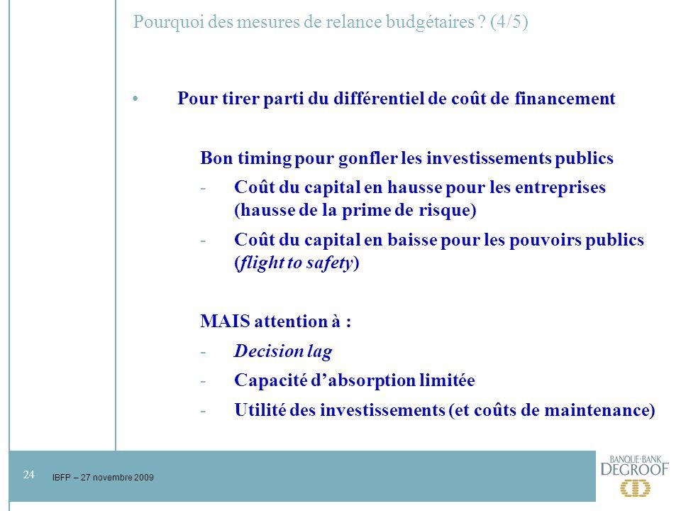 24 IBFP – 27 novembre 2009 Pourquoi des mesures de relance budgétaires .