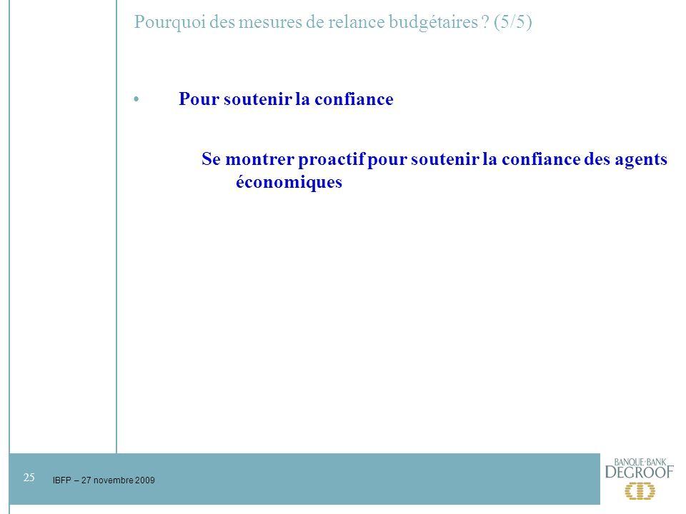 25 IBFP – 27 novembre 2009 Pourquoi des mesures de relance budgétaires .