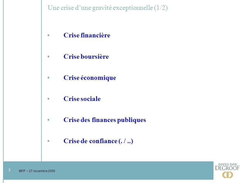 3 IBFP – 27 novembre 2009 Une crise dune gravité exceptionnelle (1/2) Crise financière Crise boursière Crise économique Crise sociale Crise des finances publiques Crise de confiance (.
