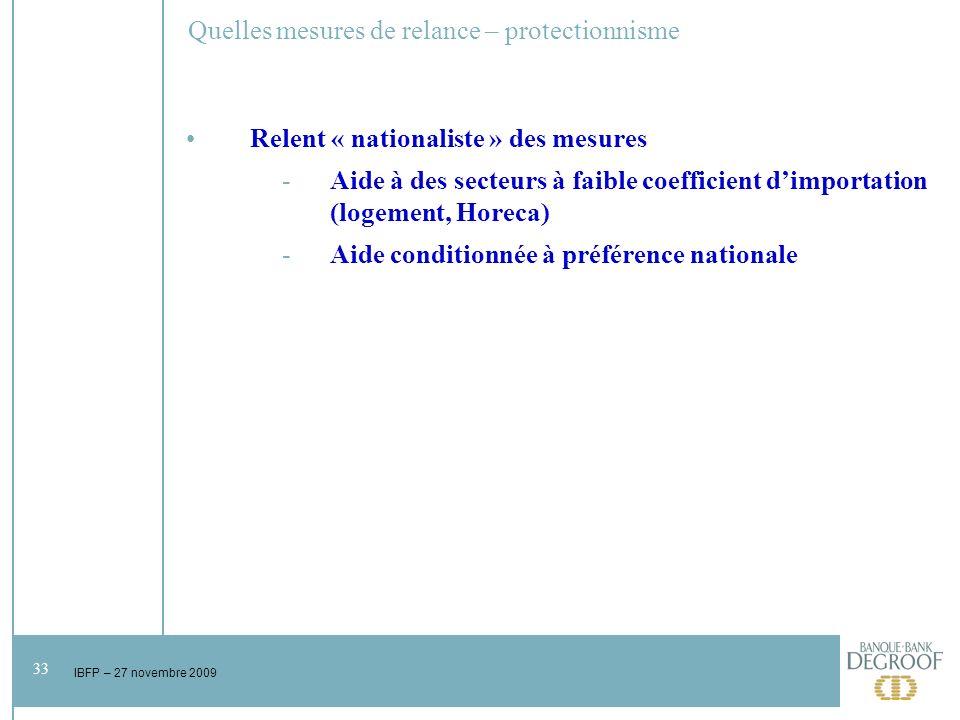33 IBFP – 27 novembre 2009 Quelles mesures de relance – protectionnisme Relent « nationaliste » des mesures -Aide à des secteurs à faible coefficient dimportation (logement, Horeca) -Aide conditionnée à préférence nationale
