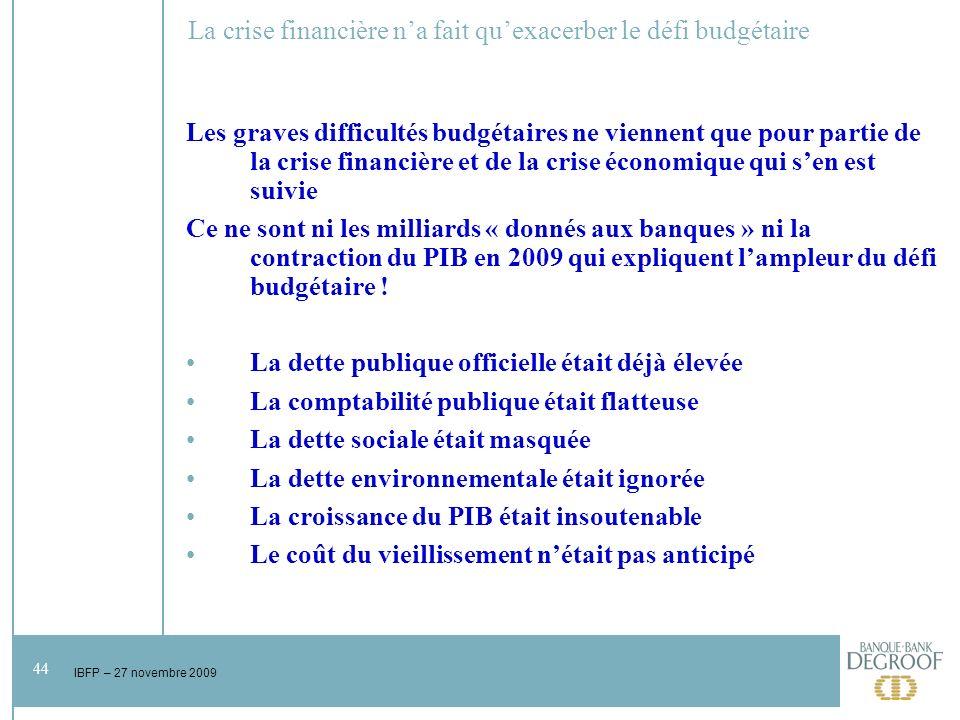 44 IBFP – 27 novembre 2009 La crise financière na fait quexacerber le défi budgétaire Les graves difficultés budgétaires ne viennent que pour partie de la crise financière et de la crise économique qui sen est suivie Ce ne sont ni les milliards « donnés aux banques » ni la contraction du PIB en 2009 qui expliquent lampleur du défi budgétaire .