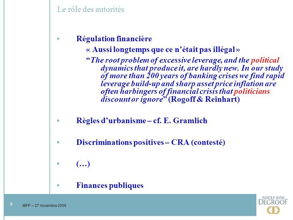 20 IBFP – 27 novembre 2009 Pourquoi des mesures de relance ?
