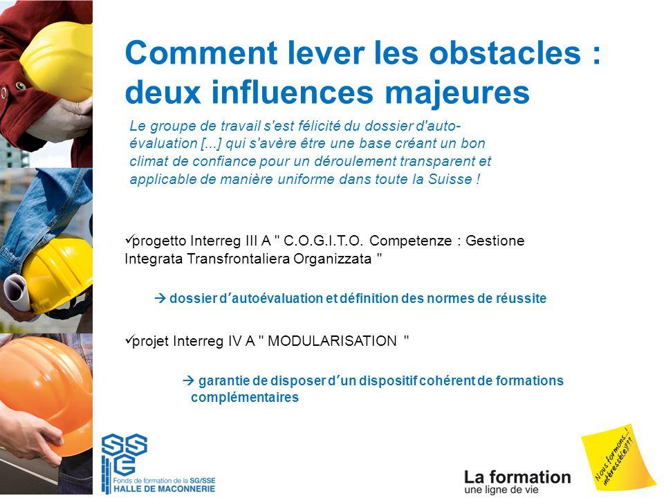 Comment lever les obstacles : deux influences majeures progetto Interreg III A
