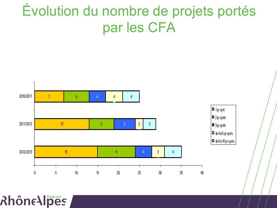 Évolution du nombre de projets portés par les CFA