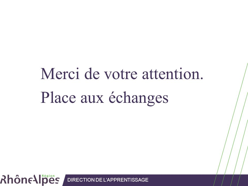 Merci de votre attention. Place aux échanges DIRECTION DE LAPPRENTISSAGE