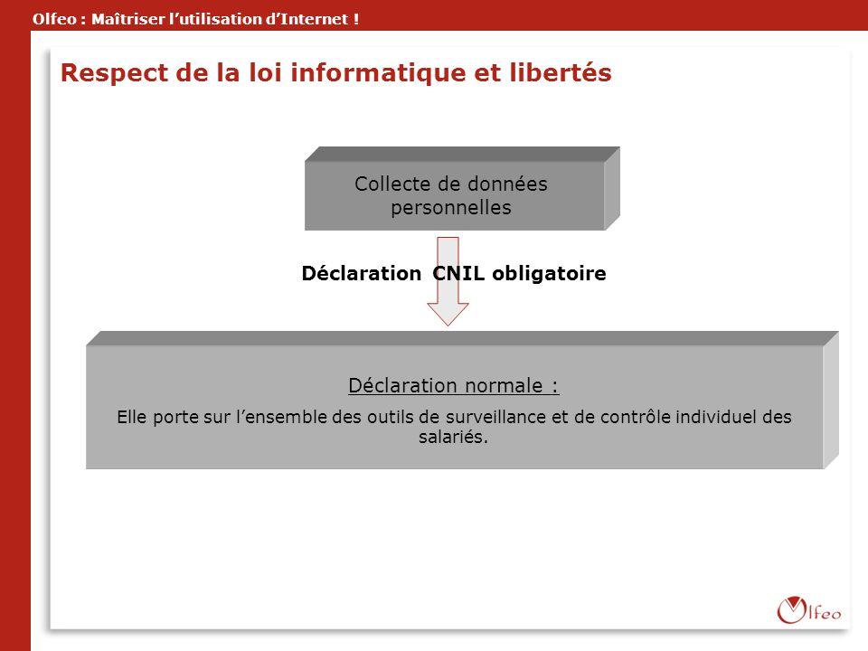 Olfeo : Maîtriser lutilisation dInternet ! Collecte de données personnelles Déclaration CNIL obligatoire Déclaration normale : Elle porte sur lensembl