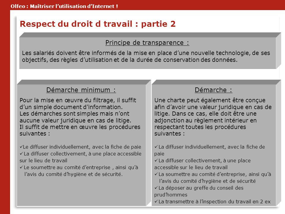 Olfeo : Maîtriser lutilisation dInternet ! Principe de transparence : Les salariés doivent être informés de la mise en place dune nouvelle technologie
