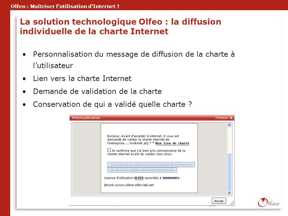 Olfeo : Maîtriser lutilisation dInternet ! La solution technologique Olfeo : la diffusion individuelle de la charte Internet Personnalisation du messa