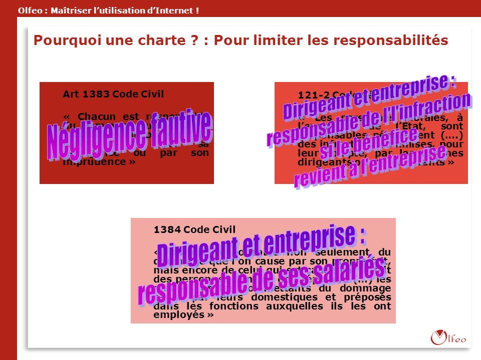 Olfeo : Maîtriser lutilisation dInternet ! Pourquoi une charte ? : Pour limiter les responsabilités Art 1383 Code Civil « Chacun est responsable du do